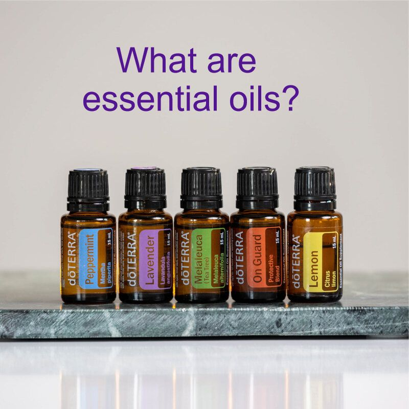 Five essential oils: peppermint, lavender, melaleuca, On Guard, and Lemon